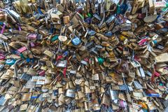 Love locks passion on the bridge in Paris stock photos
