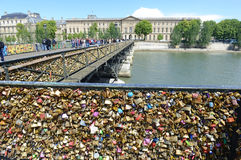 Love locks on the Pont des Arts Bridge Stock Photography