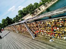 Love locks on Pont des Arts Stock Images