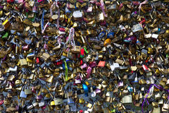 Love Locks on the Pont des Arts in Paris Royalty Free Stock Images