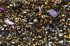 Love Locks on the Pont des Arts in Paris Royalty Free Stock Image