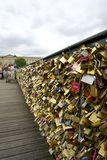 The love locks of Pont des Arts. Paris Pont des Arts - July 2014 before the love locks were removed Royalty Free Stock Photos