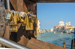 Love locks on the Ponte dell Accademia, Venice royalty free stock photography