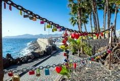 Love locks in Puerto del Carmen boardwalk, Lanzarote Royalty Free Stock Photos