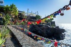 Love locks in Puerto del Carmen boardwalk, Lanzarote Stock Images