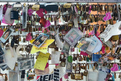 Love locks representing secure friendship and romance Stock Image