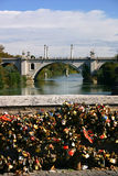 Love locks in rome Royalty Free Stock Photography
