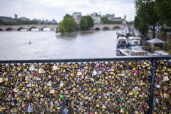 Love locks seine river Paris France Royalty Free Stock Image