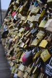 Love Locks Wall. The Love Lock Bridge, Paris, France Royalty Free Stock Photography