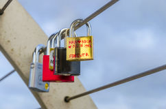 Love locks on wire Stock Photo