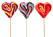 Love Lollipop. Three Heart Shaped Candy Lollipops, with clipping path Stock Images