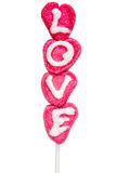 Love lolly. Made from marzipan, for Valentine's day Stock Photos