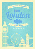 Love London vintage retro poster Royalty Free Stock Photo