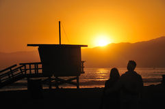 Love on an Los Angeles Beach at Sunset Royalty Free Stock Photo