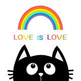 Love is love. Black cat looking up to rainbow. Cute cartoon character. Valentines Day. Kawaii animal. Love Greeting card. LGBT sig Royalty Free Stock Images