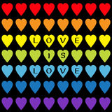 Love is love black text. Rainbow heart set. Seamless Pattern. Wrapping paper, textile template. Lgbt sign symbol. Gay flag color. Black background. Isolated Stock Image