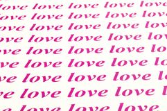 Love love love. Beautiful background of love word Stock Photography