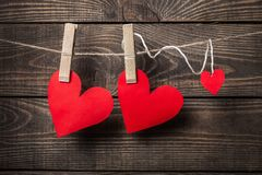 Love. Paper heart wood string two nobody Royalty Free Stock Photos