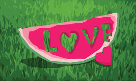 Love love. Piece of watermelon craft with love letter Stock Photos