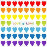 Love is love. Rainbow heart set. Seamless Pattern. Wrapping paper, textile template. Lgbt sign symbol. Gay flag color. White backg Stock Photos