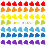 Love is love rainbow text. Rainbow heart set. Seamless Pattern. Wrapping paper, textile template. Lgbt sign symbol. Gay flag color Stock Photography