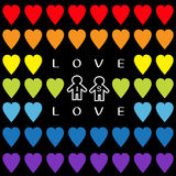 Love is love text. Rainbow heart set. Gay marriage Pride symbol Two contour man sign Seamless Pattern. Lgbt sign symbol. Black bac Royalty Free Stock Photos