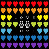 Love is love text. Rainbow heart set. Gay marriage Pride symbol Two contour woman sign  Royalty Free Stock Image