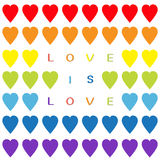 Love is love text. Rainbow heart set. Seamless Pattern. Wrapping paper, textile template. Lgbt sign symbol. Gay flag color. White Royalty Free Stock Photography