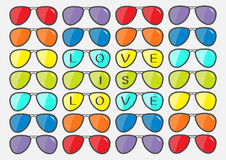 Love is love text. Sunglasses icon. Glasses set with rainbow lenses. Fashion element. LGBT sign. Gay flag symbol. Flat design. Cut. E white background. . Vector Stock Image