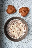Love. Ly breakfast with muffins and musli Stock Photos