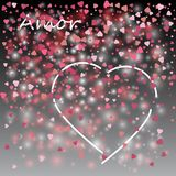 Love lovely festive template with greeting lettering black background and hearts white pattern. Love lovely festive template with greeting lettering black Royalty Free Stock Images