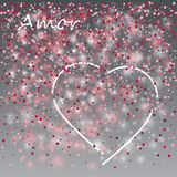 Love lovely festive template with greeting lettering gray background and hearts white pattern. Love lovely festive template with greeting lettering gray Royalty Free Stock Photo