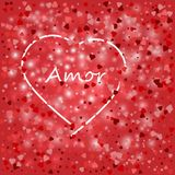 Love lovely festive template with greeting lettering red background and hearts white pattern. Love lovely festive template with greeting lettering red Royalty Free Stock Photos