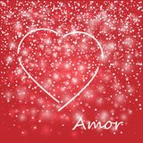 Love lovely festive template with greeting lettering red background and hearts white pattern. Love lovely festive template with greeting lettering red Royalty Free Stock Image