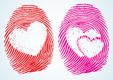 Love / Lovers. A concept showing the thumbprint with the heart Symbol on it. can be used in many ways to depict love Heart-health, heart-care and much more Royalty Free Stock Photo