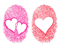 Love / Lovers concept. Showing the thumbprint with the heart Symbol on it Royalty Free Stock Images