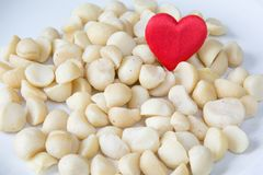 Love Macadamia. Heap of Macadamia nuts and a heart on the white background Royalty Free Stock Images