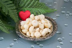 Love Macadamia. Macadamia nutson the plate and a heart Royalty Free Stock Photo