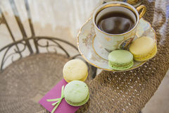 Love macarons with coffee Stock Photo