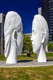 Love made by Jaume Plensa. Cultural Capital of Europe 2018, Leeuwarden, the Netherlands. Love consists of two 7 meter high, white sculptures of a boy and a girl royalty free stock images