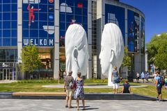 """""""Love"""" made by Jaume Plensa. Cultural Capital of Europe 2018, Leeuwarden, the Netherlands. Love consists of two 7 meter high, white sculptures of a royalty free stock photos"""