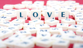 Love made of scrabble letters Stock Image
