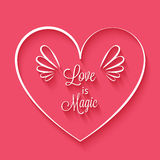 Love is magic phrase in heart frame Stock Images