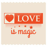 Love is Magic. Valentine greeting words. Royalty Free Stock Images