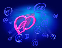 Love Mail. Pink love letter among many others e-mails Royalty Free Stock Image
