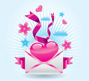 Love mail. Beauty love letter. Vector illustration Stock Photography