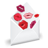 Love mail. Open envelope with glossy kiss. Love mail royalty free illustration