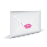 Love mail. Close envelope with print of kiss. Love mail royalty free illustration