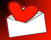 Love Mail. A love heart that has been delivered in the mail Royalty Free Stock Image