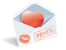 Love mail. Envelope, heart and lipstick print stock illustration